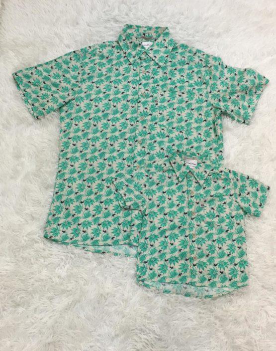 Camisa Botão Folhas Pai