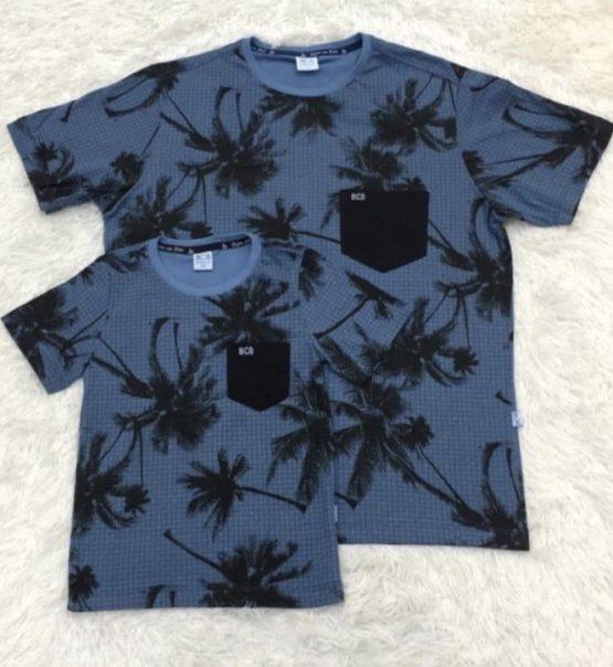 Camiseta Hawaii Azul Pai