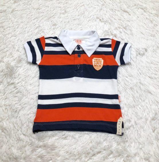 Camisa Polo Listra Laranja Filho