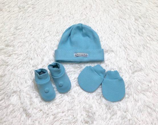 Kit Baby Toca Luva e Sapatinho Azul Bebê