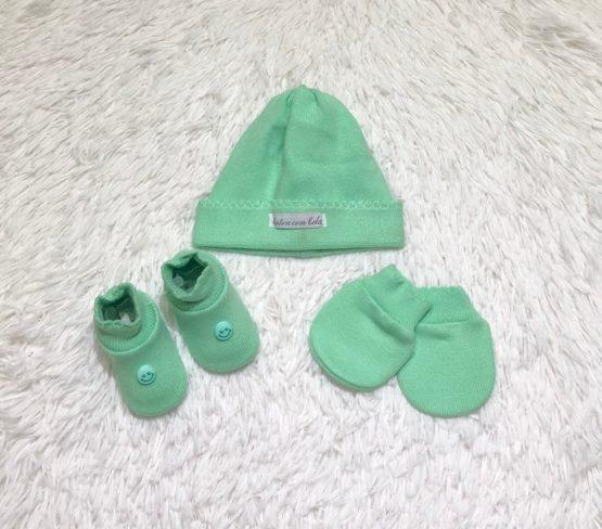 Kit Baby Toca Luva e Sapatinho Verde