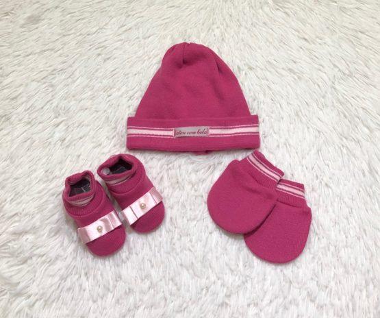 Kit Baby Toca Luva e Sapatinho  Pink Laço