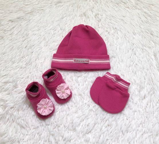 Kit Baby Toca Luva e Sapatinho Pink