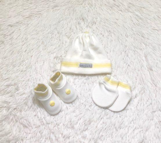 Kit Baby Toca Luva e Sapatinho Branco com Amarelo