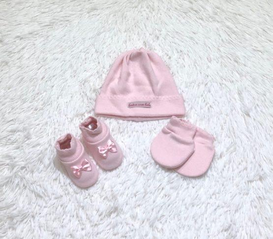 Kit Baby Toca Luva e Sapatinho Rosa