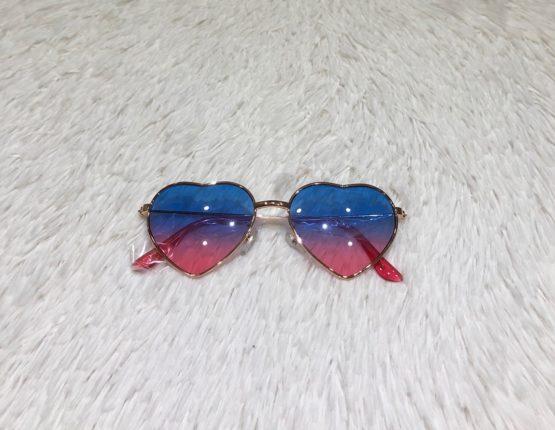 Óculos Coração Degradê Rosa e Azul