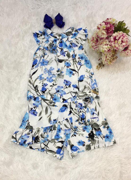 Conjunto Estampa Flores Azul